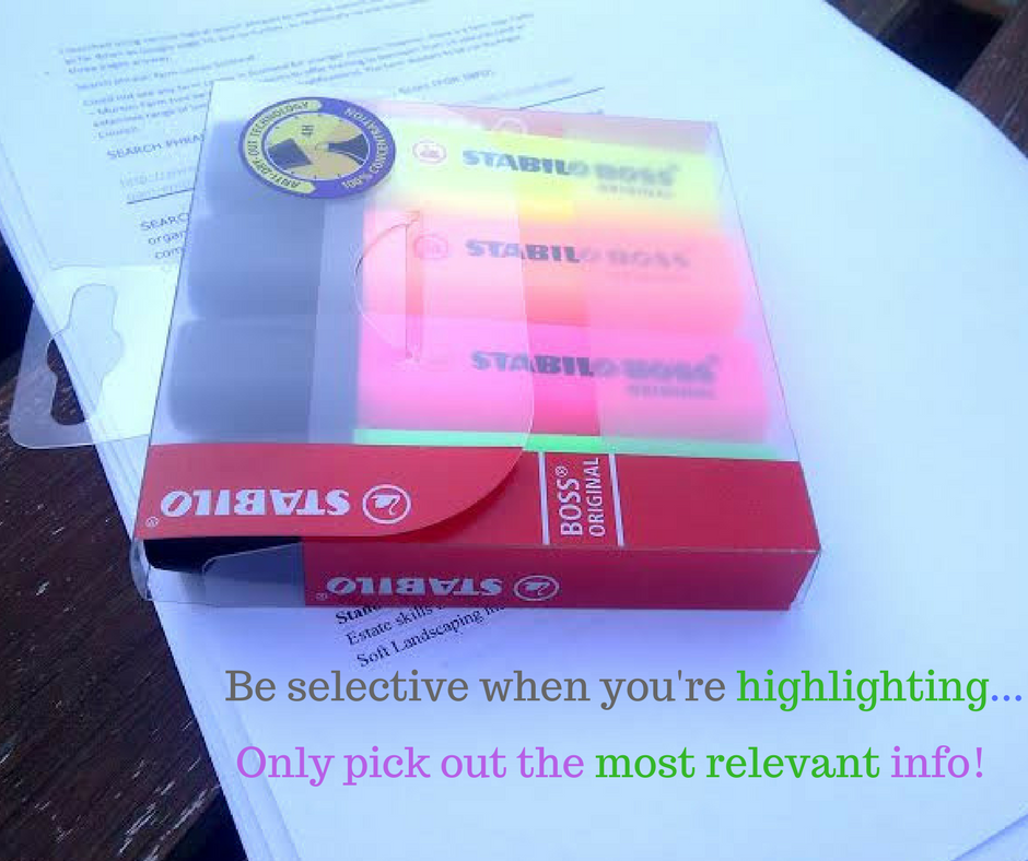 exam revision highlighters and revision sheet