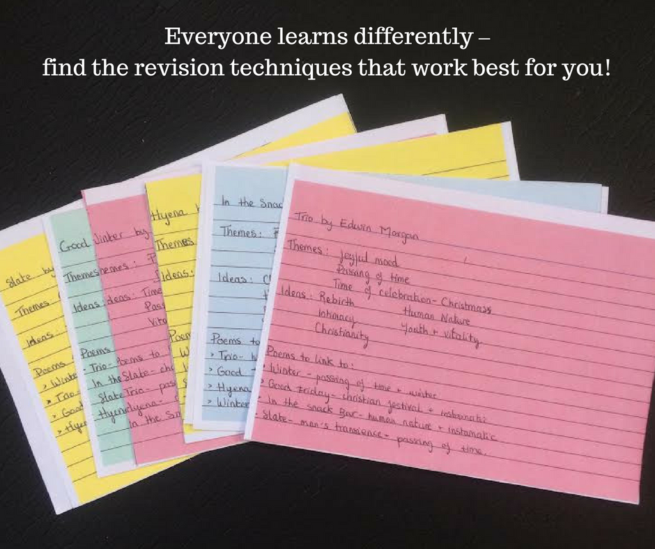 revision cards with poetry quotes