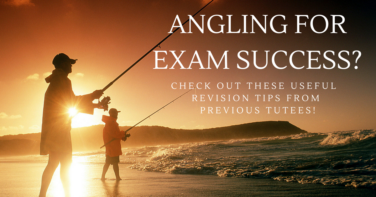 Two people angling on a beach with the strapline Angling for Exam Success beside them.