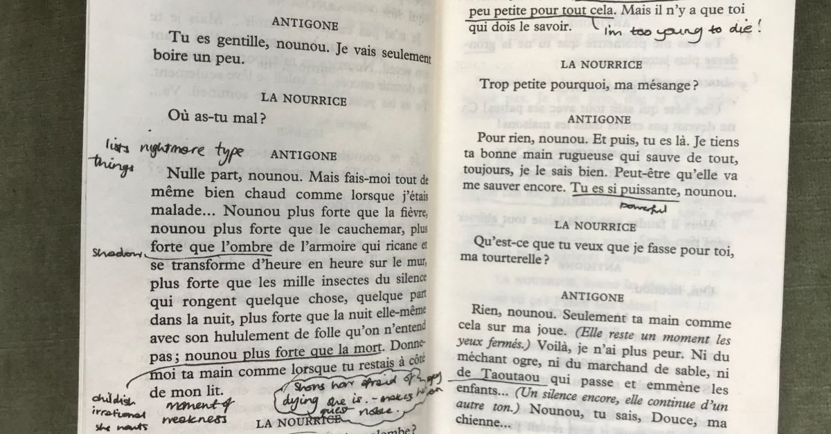 French reading recommendations Antigone