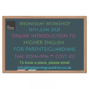 English Higher workshop 2021